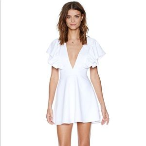 Nasty Gal Women's White Ruffle Your Feathers Dress